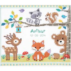 """Forest Animals Birth Record On Aida Counted Cross Stitch Kit-11.2""""X9.6"""" 14 Count"""
