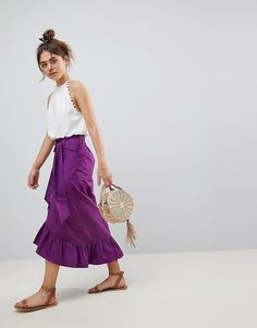 ASOS DESIGN cotton midi skirt with tie belt and ruffle hem