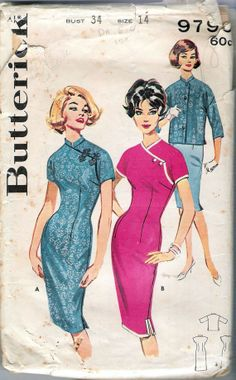 Vintage 1960 Butterick 9790 Asian Sheath and Jacket Sewing Pattern Size 14 Bust 34