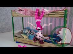 Bunk bed. Как сделать двухъярусную кровать для кукол. How to make a bunk...