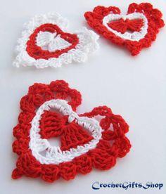 Crochet pattern heart Motif Garland Applique от crochetgiftsshop