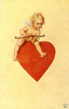 Cupid on a Heart - Postcard Valentine Images, My Funny Valentine, Vintage Valentine Cards, Vintage Greeting Cards, Vintage Postcards, Vintage Images, Images Victoriennes, Retro Kids, Wow Art