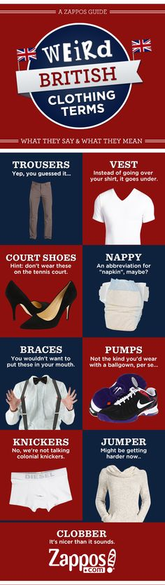 Zappos Guide to British Clothing Terms  cool to know that!!