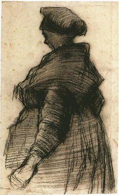Vincent van Gogh Mujer con un chal Drawing