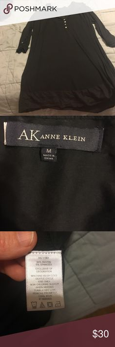 Anne Klein Night Shirt Black. Buttons. Slight decoration on bottom with change of fabric. Took tags off my but I never wore. Size Medium. 3/4 sleeves. Anne Klein Intimates & Sleepwear Pajamas