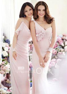 blush draped one-shoulder chiffon a-line long flower bridesmaid dress