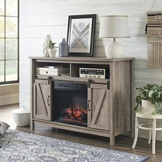 Better Homes & Gardens Modern Farmhouse Fireplace Credenza for TVs up to 50 inch, Rustic Gray Finish Fireplace Media Console, Fireplace Tv Stand, Fake Fireplace, Fireplace Ideas, Living Room Furniture, Living Room Decor, Furniture Stores, Cheap Furniture, Best Electric Fireplace
