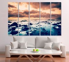 Ocean Storm Canvas Print Sea Storm Artwork Storm Sunset Art Storm art Storm canvas Storm decor Storm home decor Storm photo Storm poster by ArtWog Blue Wall Decor, Office Wall Decor, Office Walls, Sea Storm, Oversized Wall Art, Jesus Painting, Thing 1, Sunset Art, Beach Art