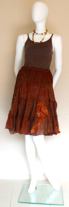 Silk Skirt/ Knee Length Skirt/ Flared Skirt by SilkinaFashions