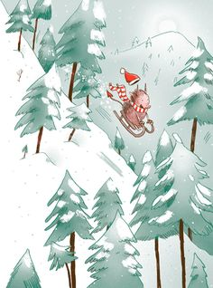 The winter boar goes sledding by Ina Hattenhauer-Weihnachtsteufel Winter Illustration, Christmas Illustration, Illustration Art, Winter Kids, Winter Art, Christmas Pictures, Christmas Art, Book Cover Design, Book Design