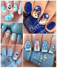 diseños de uñas con muñecos de nieve