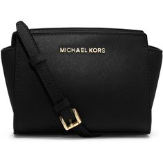 MICHAEL Michael Kors Selma Mini Messenger Bag (€165) ❤ liked on Polyvore featuring bags, messenger bags, purses, sac, carteras, black, strap bag, logo bags, genuine leather messenger bag and messenger bag