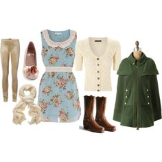 "Polyvore is like buying clothes without spending money...way too fun! (love that ""cape"" with the boots and dress combo...)"