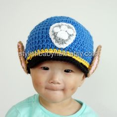 Chase Hat PAW Patrol Hat Crochet Baby Hat by stylishbabyhats