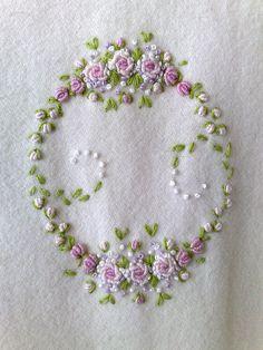 bullion stitch roses bonito bordado para toalha de mão