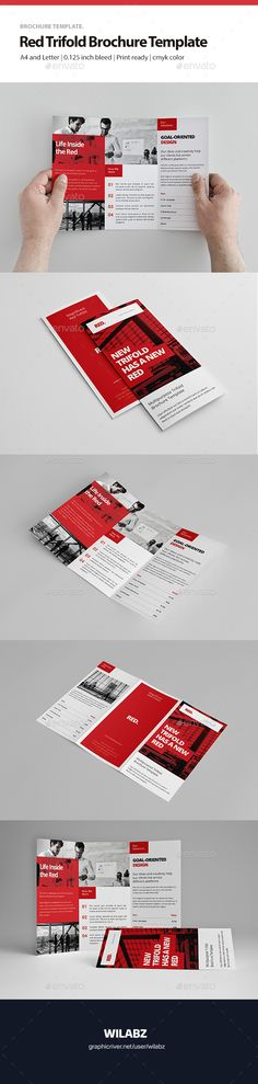Red Trifold Brochure - #Brochures #Print #Templates Download here:  https://graphicriver.net/item/red-trifold-brochure/19036782?ref=alena994