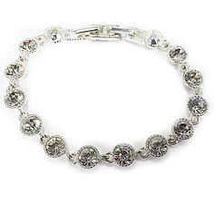Rhinestone Tennis Bracelet Vintage SAQ Round Cut Faceted Silver Tone Signed b221