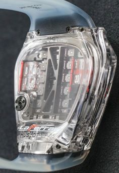 """Hublot MP-05 LaFerrari Sapphire Watch Hands-On - by Ariel Adams - on aBlogtoWatch.com """"A new piece for 2016, the Hublot MP-05 LaFerrari Sapphire dresses Hublot's Ferrari engine-inspired movement in an all-sapphire case. Several years ago, Richard Mille was a 'pioneer' in sapphire, releasing a timepiece produced from a single 'monolithic' piece of this super-hard crystal... Compared to those, this highly impressive Hublot MP-05 LaFerrari Sapphire reference 905.JX.0001.RT feels…"""