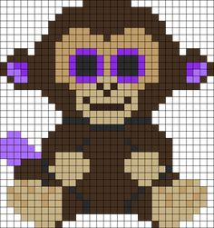 Coconut Monkey Beanie Boo Perler Bead Pattern | Bead Sprites | Animals Fuse Bead Patterns