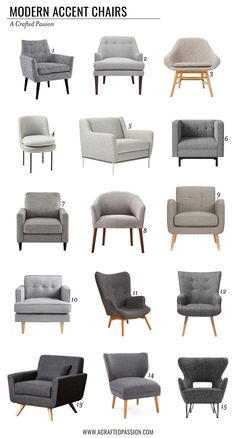 You don't have to spend a fortune to have modern accent chairs! You don't have to spend a fortune to have modern accent chairs! Check out these affordable gray chairs that would be great for your living room or bedroom. Living Room Sofa Design, Accent Chairs For Living Room, Home Living Room, Living Room Designs, Living Room Decor, Modern Accent Chairs, Living Area, Living Room Interior, Living Room Furniture