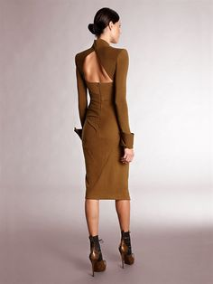 CREPE BODICE OPen BACK SCULPTED ANGULAR SLIT DRESS WITH CUFFS - Donna Karan    (Back View)