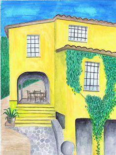 gele villa, aquarel
