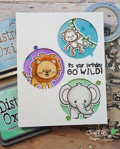 I'm up on @craftindesertdivas blog today with this fun card featuring It's All About Zoo. #craftindesertdivas #zigcleancolorrealbrush #watercolor #inkblending #distressoxide #diecutting #handmadecard #cardmaking