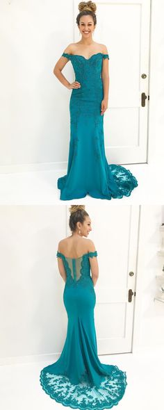 formal evening dress prom dress, gorgeous off the shoulder mermaid long prom dress homecoming dress, blue long prom dress evening dress ball gown