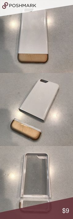 Used IPhone 6/6S case: White and Gold White and gold case, two pieces. Used and could be painted to fix up. Accessories Phone Cases