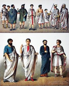 Ancient Roman Costumes. Peasants, High Priest, Senator.