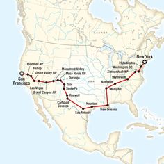 map of the route for coast to coast road trip eastbound