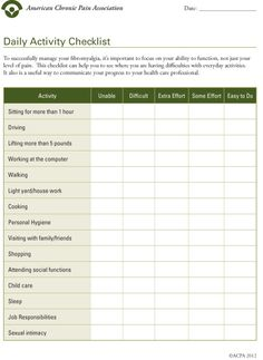 Image: Daily Activity Checklist - for anyone living with chronic pain