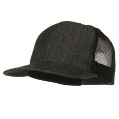 f14ccca8716 Denim Black Flat Bill Snap Back Mesh Cap. Constructed out of 6 panels with  2 front panels and 4 mesh back panels