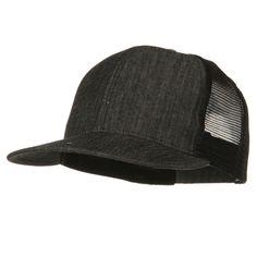 fce14e3a7f8f5 Flat Bill Snap Back Mesh Cap - Denim Black Denim Hat