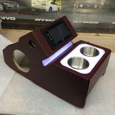car audio double din custom console cup holders leds.
