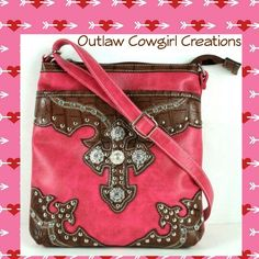 Cross pink/brown messenger purse by Outlaw Cowgirl Creations