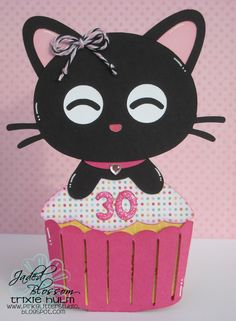 Pink Glitter Studio - Cupcake Kitty Slider Card from SVG Cutting Files Foam Crafts, Crafts To Make, Birthday Crafts, 30th Birthday, Slider Cards, Creative Box, Class Decoration, Crafty Projects, Pink Glitter