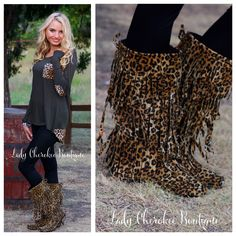 Spirit of the Wild LEOPARD FRINGE BOOTS  #ladycherokeeboutique #fall #leopardprint #womensfashion #fringeboots