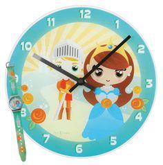 Zegar dziecięcy Knight & Princess + zegarek na rękę - NEXTIME - DECO Salon. The clock will hit a chord with girls who love fairy, fairy-tale world. #giftidea #forgirl #dladzieci #kidsdesign #watch