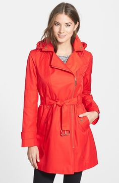 MICHAEL Michael Kors Asymmetrical Hooded Trench Coat available at #Nordstrom