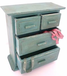 Vintage Shabby Chic Small Storage Chest of Drawers * Annie Sloan Provence & Original