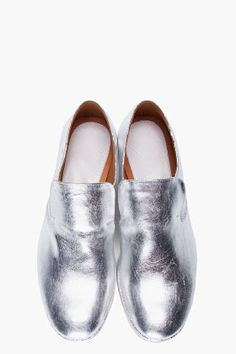 Maison Martin Margiela Silver Foil Leather Shoes for men | These should come in women's