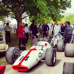 The iconic Honda RA300 heads the RA272, WTCC star Gabriele Tarquini can be seen in the background ready to take the RA272 up the legendary Goodwood FoS hill.