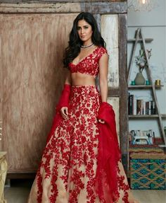 OMG: Katrina Kaif so gorgeous in Manish Malhotra lehenga choli red embroidery over skin colored fabric. at Outfit by Jewels by Anmol Styled by Tanya Ghavri Hair by Amit Thakur Makeup by Daniel Bauer via Call/ WhatsApp for Purchase inqury : Red Lehenga, Indian Bridal Lehenga, Indian Bridal Outfits, Indian Fashion Dresses, Bridal Dresses, Lehenga Blouse, Anarkali, Manish Malhotra Bridal, Manish Malhotra Lehenga
