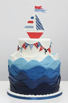 Love this Nautical Cake Fancy Cakes, Cute Cakes, Nautical Cake, Nautical Wedding, Camo Wedding, Nautical Party, Fondant Cakes, Cupcake Cakes, Boat Cake