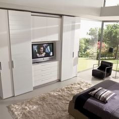 Contemporary wardrobe / sliding door / with integrated unit for TV Falegnami%categories%Bedroom Wardrobe Design Bedroom, Tv In Bedroom, Master Room, Closet Bedroom, Bedroom Decor, Extra Bedroom, Bedrooms, Bedroom Cupboards, Suites