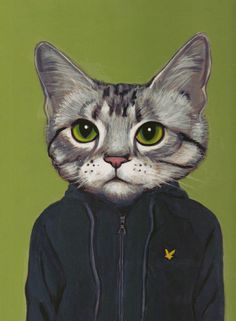 Hipster Cats Portrais - Cats in Clothes by Heather Mattoon / Vincent plays Football, or Soccer for Americans, he is European. He takes acting classes and loves his hoodie.