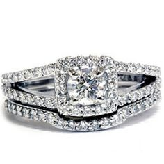 1.20CT Diamond Cushion Halo Split Shank Engagement Ring Matching Wedding Band Set 14 KT White Gold