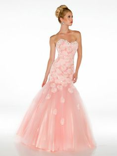 Pink Mermaid-Style Dress with Tulle Skirt