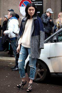 boyfriend jeans + knit